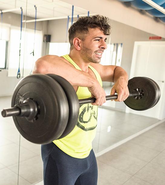 ontwikkelde schouders: barbell upright row