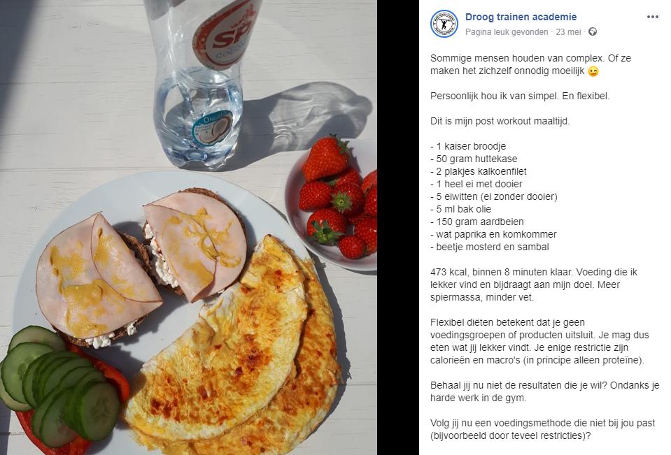 facebook post droog trainen academie